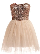 Strapless Peach Sequin Sweetheart Neck Mesh Tulle Skirt Short Prom Homecoming Dress