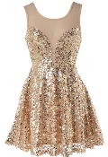 Gold Sequin Mesh Sweetheart Short Fit Flare Skater Dress
