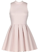 Baby Pink Light Pink Fit Flare Pleated Skater Dress