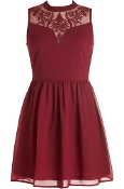 burgundy red lace chiffon skater dress