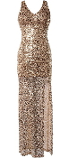 Gold Sequin Full-Length Side Slit Maxi Dress Gold Sequin Gown