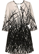 Cream Black Branch Print Elbow Sleeve Shift Dress