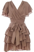 Mocha Brown Ruffle Sleeve Belted Wrap Dress