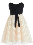 Black Ivory Strapless Bow Belt Midi Dress