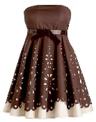 Strapless Brown White Contrast Laser Cut Short Belted Bridesmaid Dress