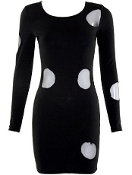 Black Long Sleeve Cut Out Circle Short Bodycon Going Out Dress