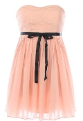 Strapless Pink Sweetheart Lace Contrast Ribbon Belt Casual Day Dress