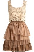 Scoop Neck Cream Brown Crochet Bodice Layered Lace Bridesmaid Dress