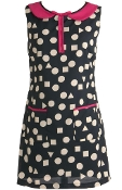 Black White Polka Dot Fuchsia Peter Pan Collar Vintage Shift Dress