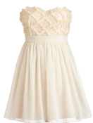 Strapless Cream Chiffon Sweetheart Neck Empire Waist Embellished Bridesmaid Dress