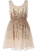 Sleeveless Sparkling Ivory Gold Sequin New Year's Eve Wedding Guest Dress