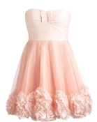 Strapless Sweetheart Pink Organza Mesh A-Line Homecoming Prom Dress