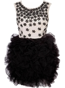 Embellished White Black Floral Applique Mesh Ballerina Tutu Prom Dress