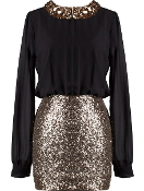 Women's Long Sleeve Black Chiffon Gold Sequin Peter Pan Collar Dress