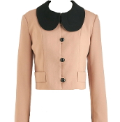 Vintage Peach Contrast Black Peter Pan Collar Cropped Women's Blazer Jacket