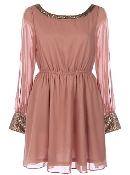 Vintage Pink Chiffon Long-Sleeve Sequin Party Dress