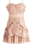 Dusty Pink Pleated Ruffle Trim Short Bridesmaid Dress