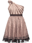 One Shoulder Rosette Short Mocha Brown Fit-And-Flare Bridesmaid Dress