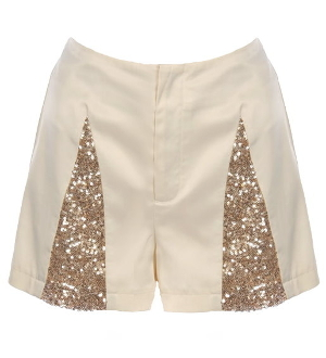 Satin Ivory Gold Sequin Holiday Party Shorts
