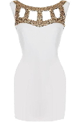 White Gold Sequin Cutout Neck Little White Bodycon Dress