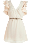 Ivory V-Neck Ruffled Sleeve Fit and Flare Casual Dress