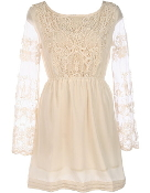 Ivory Lace Long-Sleeve Crochet Applique Wedding Guest Dress