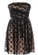 Strapless Black Mesh Empire Waist Mini Cocktail Party Dress