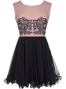 Pink Silver Sequin Bodice Black Chiffon Skater Dress