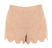 Light Peach Bead Embellished Scalloped Hem Juniors Shorts