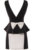 Black White V-Neck Plunge Back Bow Accent Peplum Waist Bodycon Dress