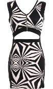 Sleeveless Black White Geometric Cutout Waist Mini Bodycon Dress