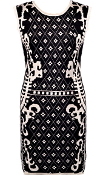Sleeveless Black Diamond Print Fitted Bodycon Knit Sweater Dress