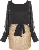 Women's Black Chiffon Gold Sequin Long-Sleeve Cocktail Party Two-Piece Dress