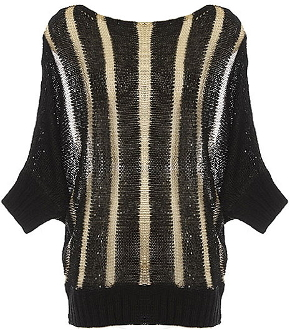 Black Boat Neck Dolman Sleeve Mesh Stripe Knit Sweater Top
