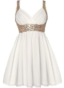 White Gold Sweetheart Neck Sequin Strap Empire Waist Skater Dress