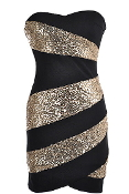 Black Gold Sequin Striped Strapless Bodycon LBD Cocktail Party Dress