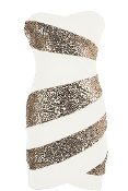 Strapless White Sweetheart Neck Gold Sequin Striped Bodycon Party Dress