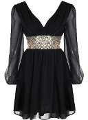 Black Chiffon Double V-Neckline Gold Sequin Waist Long Sleeve Dress