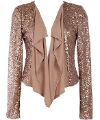 Taupe Brown Sequin Paneled Party Blazer Jacket Top