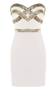 Short White Strapless Sweetheart Gold Sequin Bachelorette Party Bodycon Dress