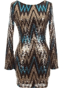 Gold Black Blue Sequin Chevron Print Long-Sleeve Bodycon Vegas Dress