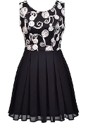 Black White Contrast Embroidered Applique Chiffon Skater Dress