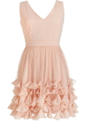 Light Pink Chiffon V-Neck Petal Applique Bridesmaid Prom Homecoming Dress