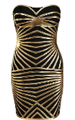 Strapless Black Gold Sweetheart Neck Bandage Lines Fitted Cocktail Dress