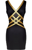 Black Gold Criss-Cross Design Fitted Bandage V-Neck Bodycon Dress