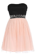 Strapless Black Peach Jewel Embellished Tulle Homecoming Party Dress