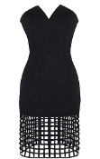 Black Strapless Pointed Neckline Fitted Cage Hem Bodycon Dress