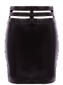 Black Cutout Leather Strap Waist Form-Fitting Bodycon Skirt