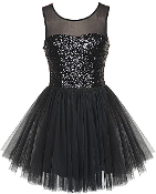 Black Sequin Sweetheart Bodice Ballerina Mesh Hem Party Dress