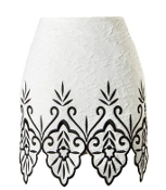 White Contrast Black Embroidered Scalloped Hem Resort Skirt